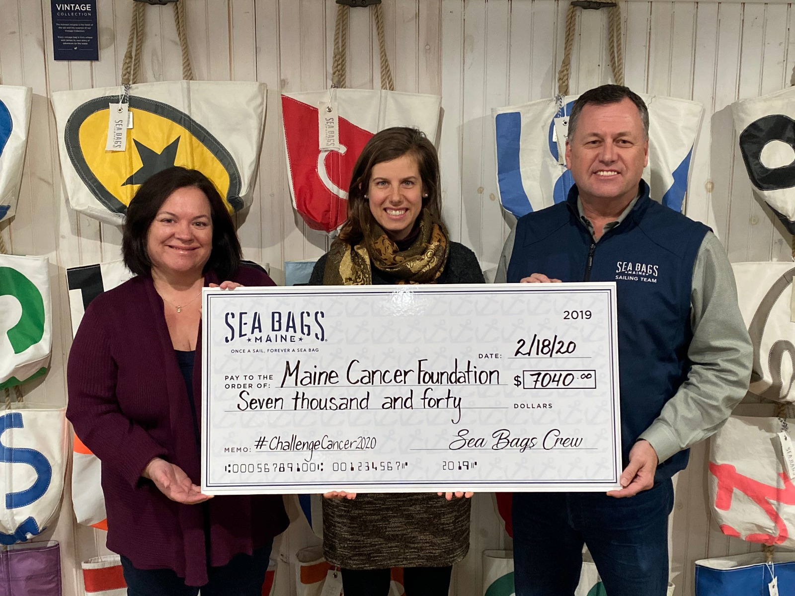 Sea Bags check presentation to Maine Cancer Foundation