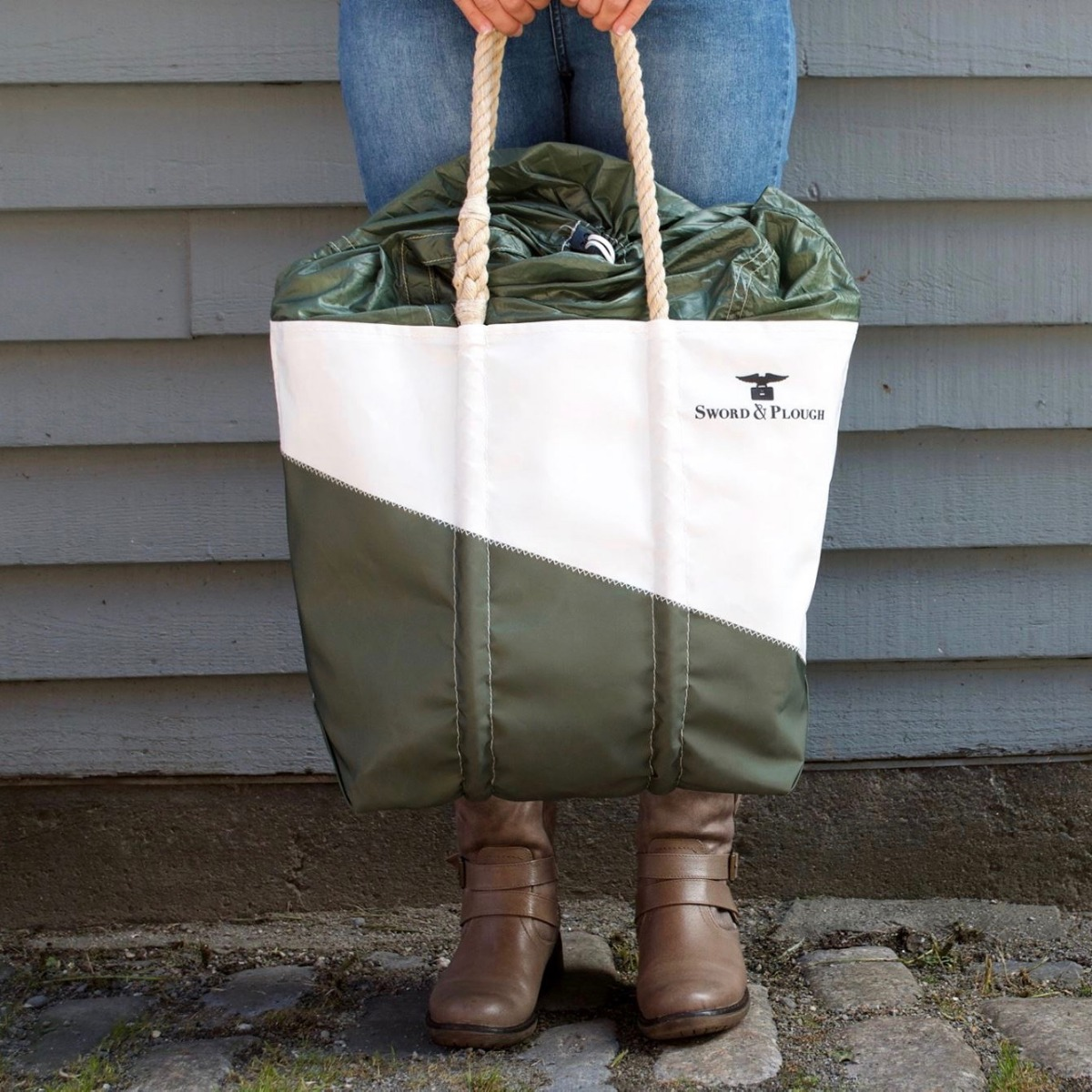 Limited edition Parachute Expandable Top Tote made in collaboration with Sword & Plough