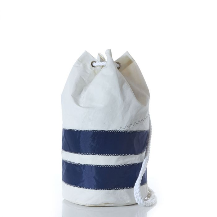 Recycled sail cloth over the shoulder bag with navy stripe