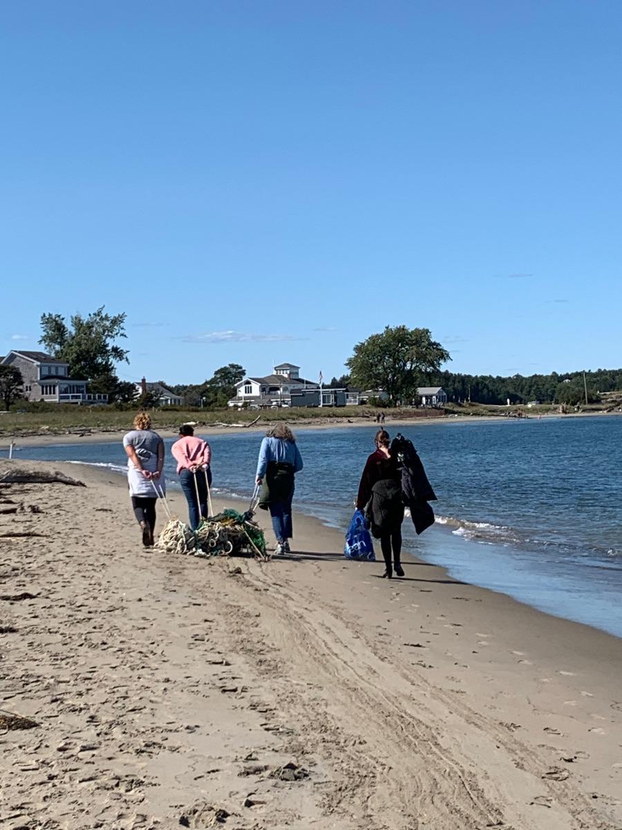 sea bags team beach cleanup at popham beach
