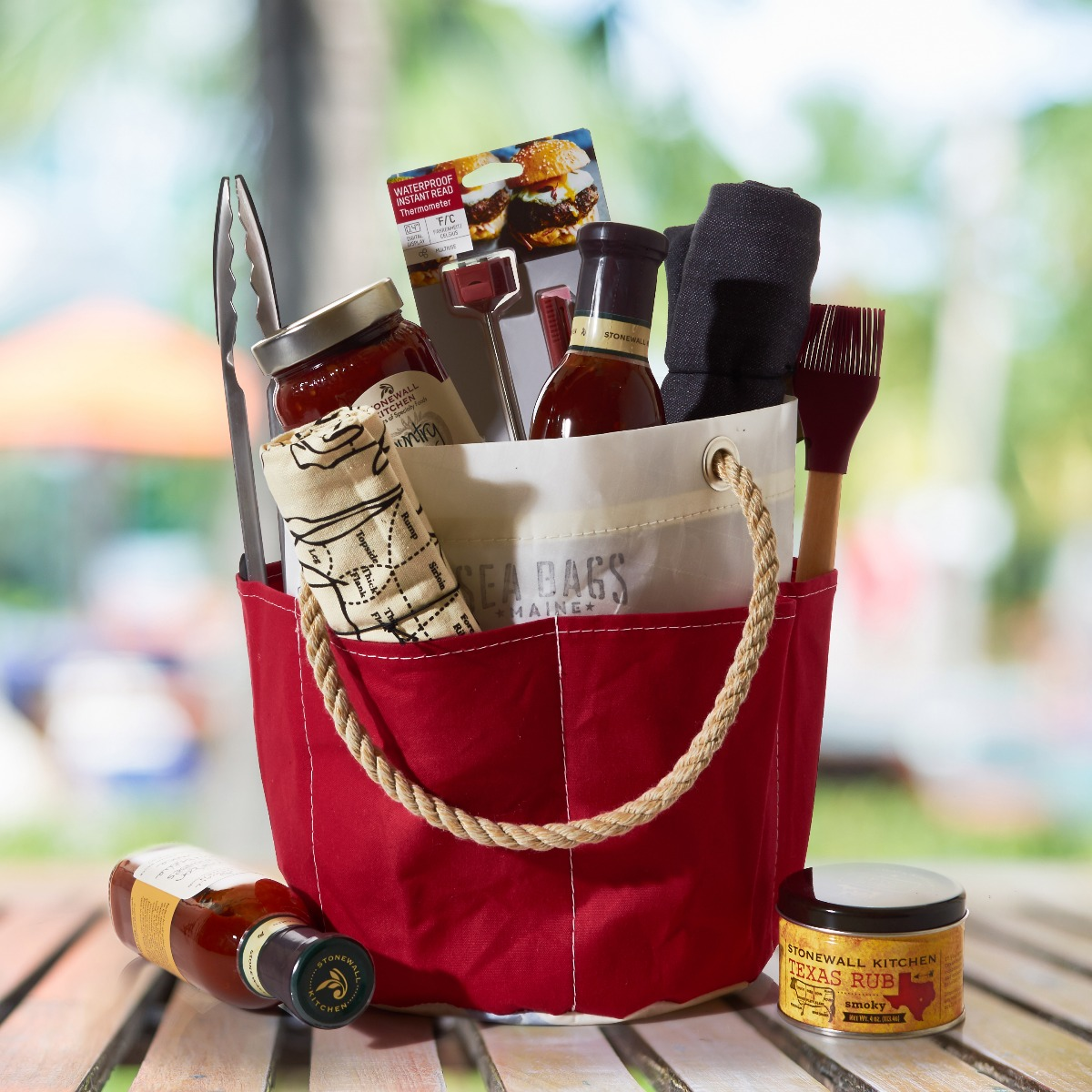 Recycled Sail Cloth Bucket Bag with Grilling Tools Inside