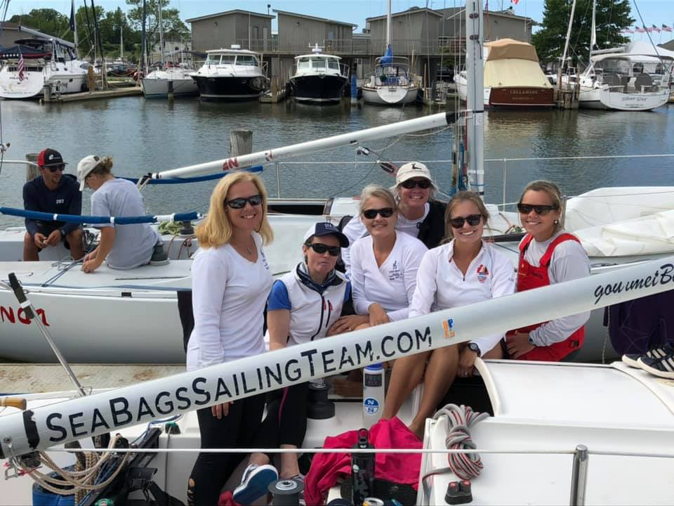 The Sea Bags Women's Sailing Team onboard their J/24