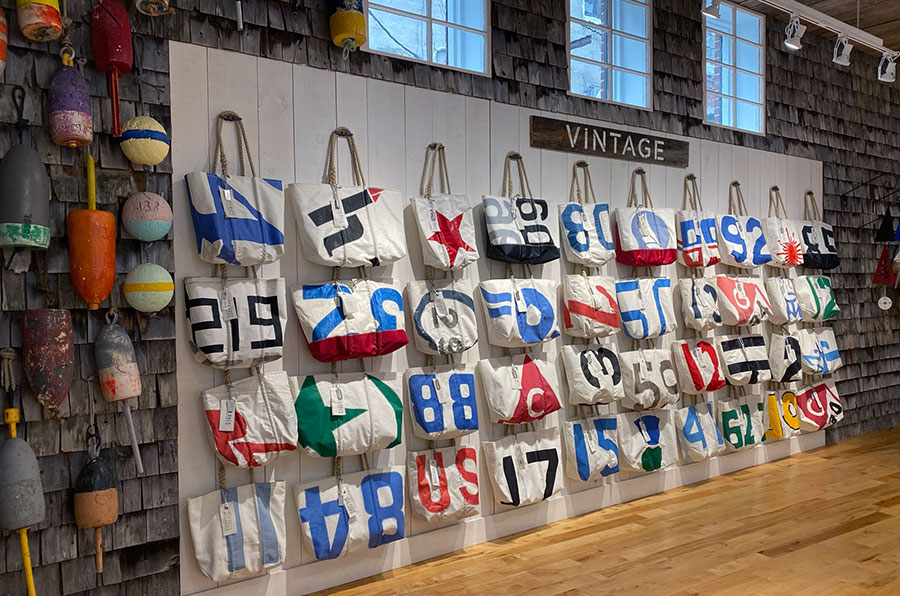 Vintage Insignia bags hanging on hooks