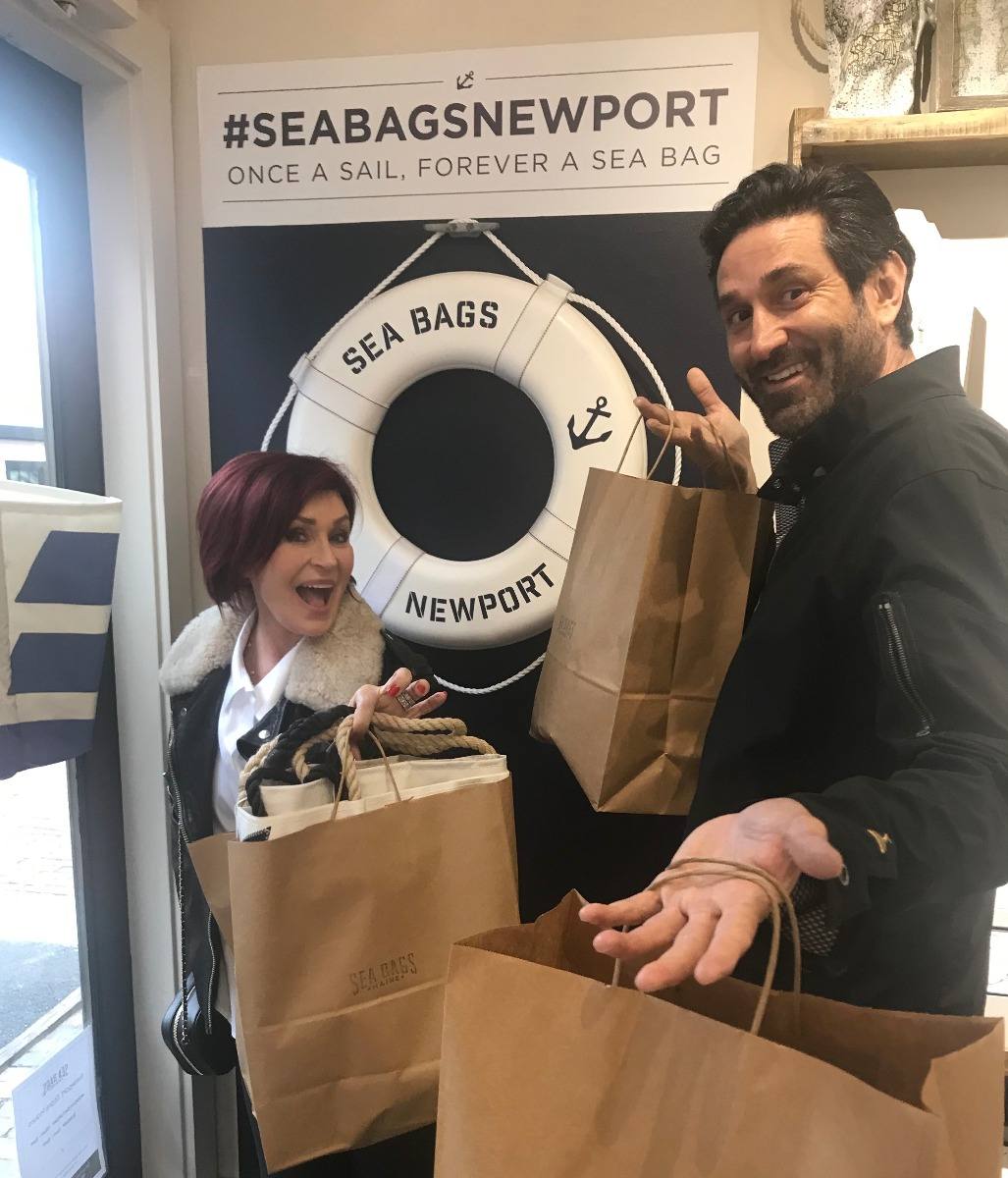 Sharon Osbourne sighting at the Sea Bags retail store in Newport, Rhode Island