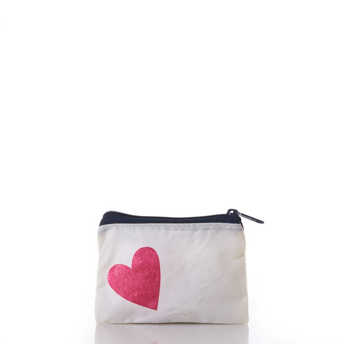 recycled sail cloth change purse with heart print