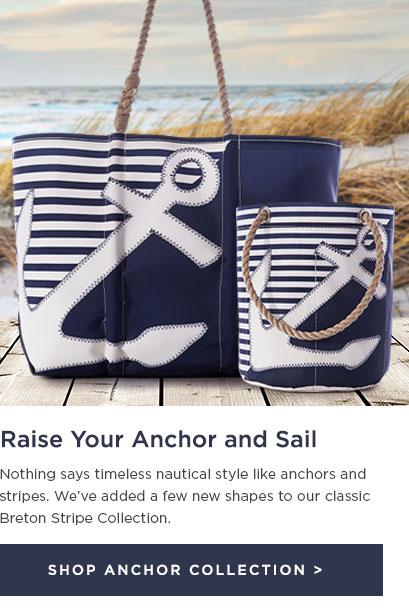 Totes and Bucket Bag Navy Anchor Breton Stripes