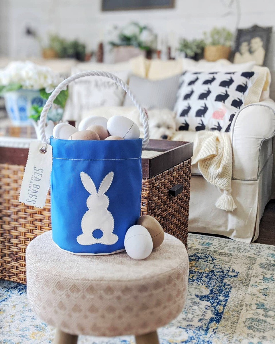 recycled sail cloth easter bucket with cardboard eggs