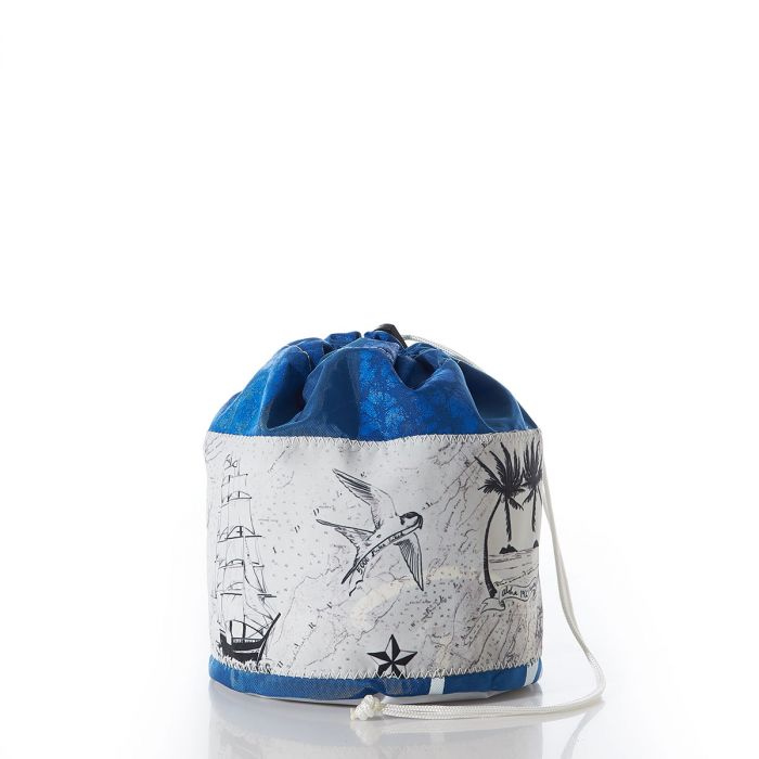 Recycled sail cloth ditty bag with nautical motifs