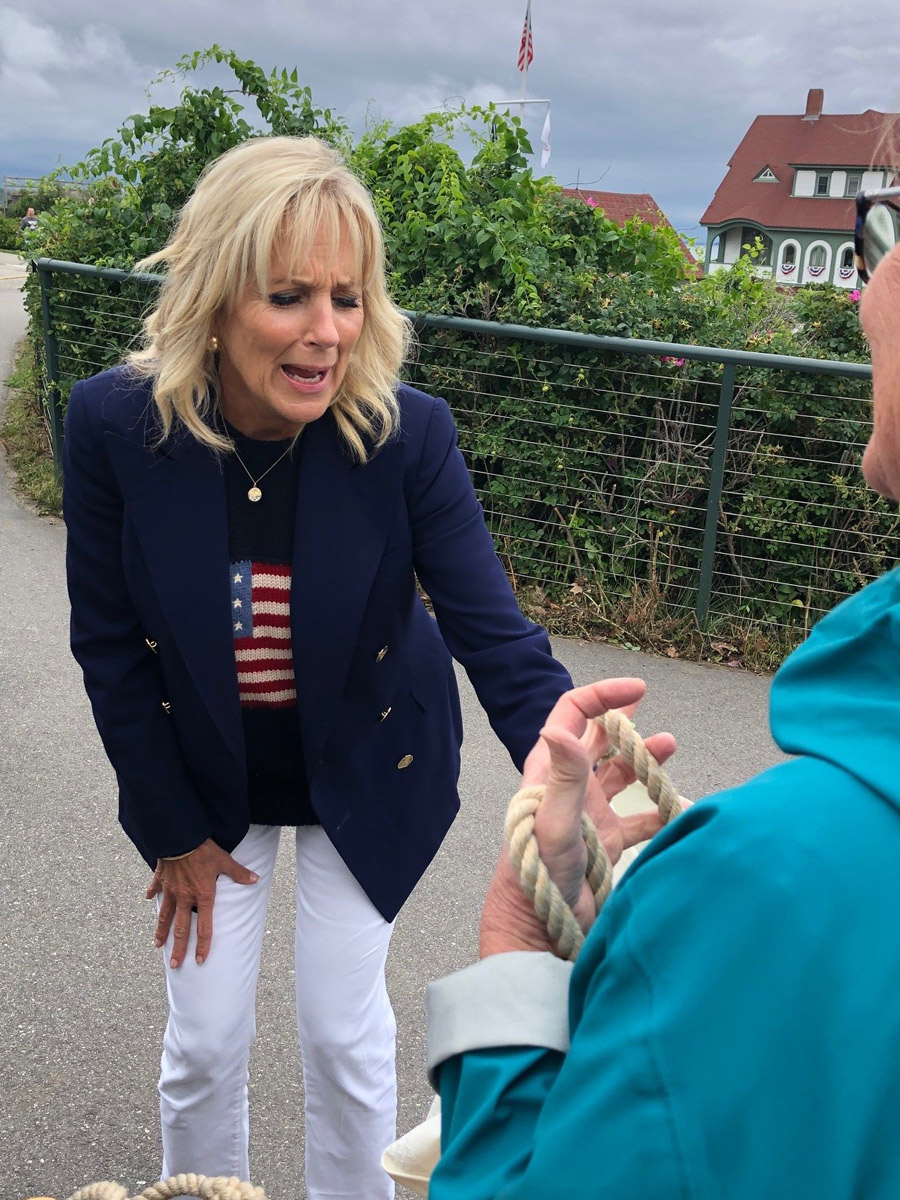 First Lady Jill Biden reacting to Custom Sea Bags being gifted from Chellie Pingree