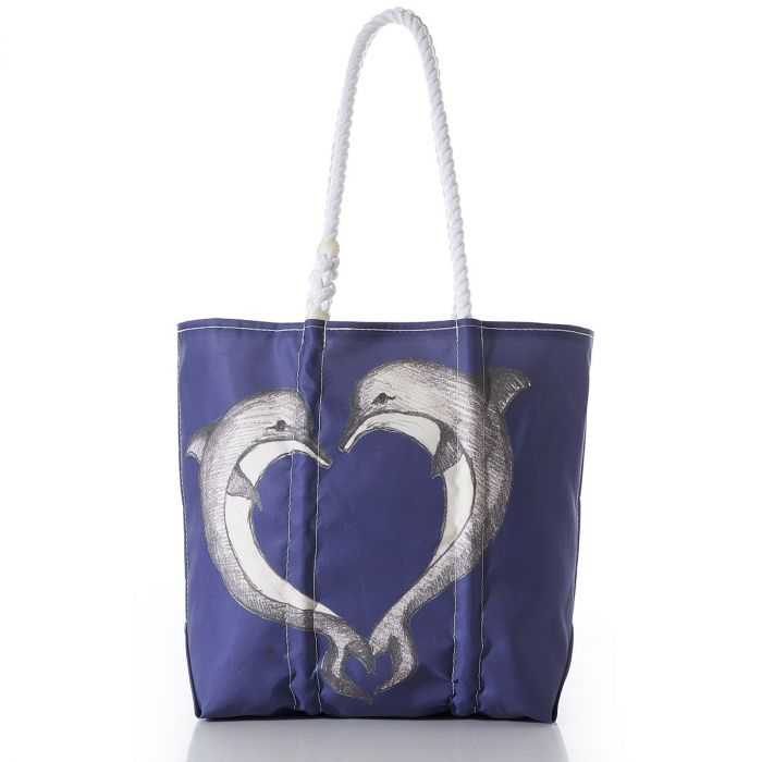 recycled sail cloth tote with dolphins printed
