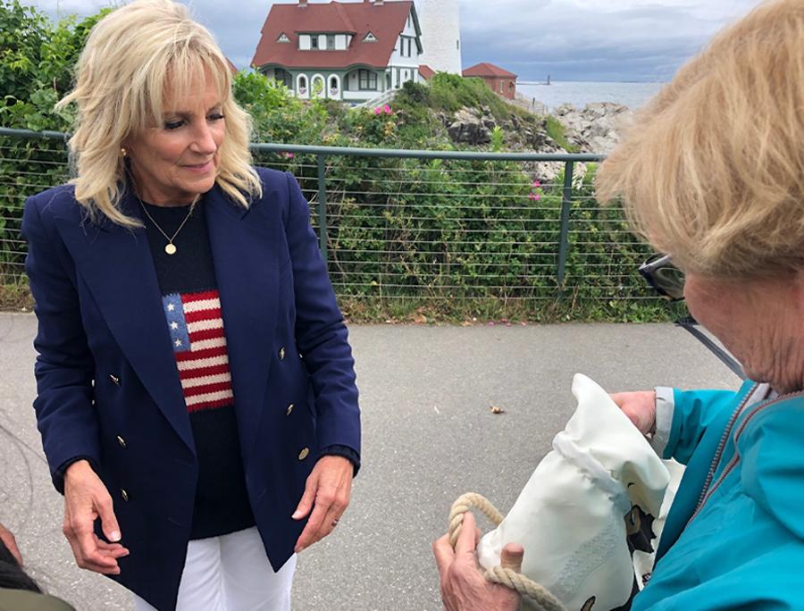 Jill Biden and Chellie Pingree at Portland Head Light in Cape Elizabeth, Maine