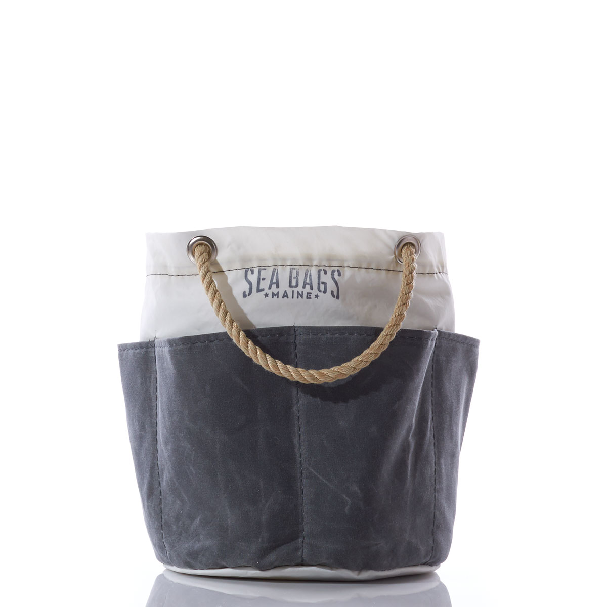 Recycled Sail cloth tool bucket with rope handle