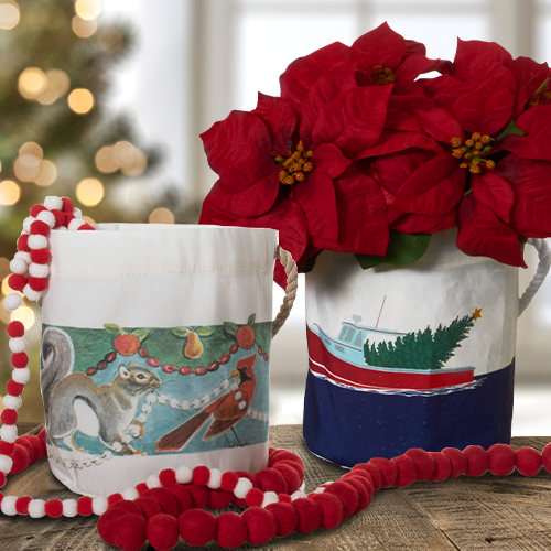Recycled Sail Cloth Holiday Bucket Bags with poinsettia inside