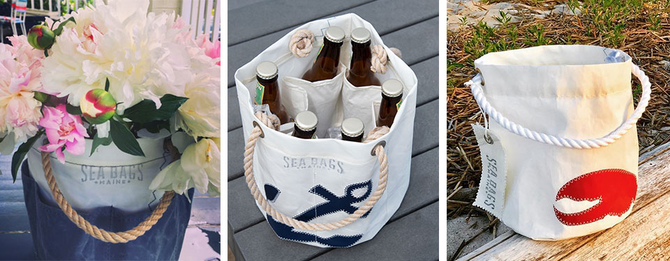 sailcloth buckets as flower holder, portable cooler, and carrier