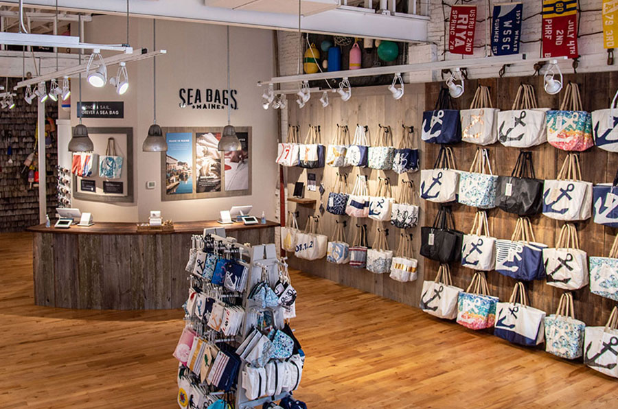 Sea Bags Flagship Store on Commercial Street in Portland Maine