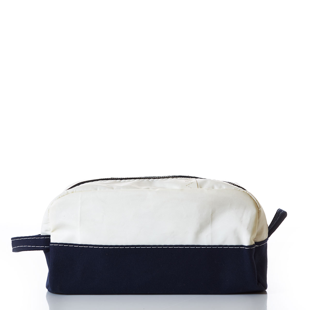 Recycled navy and white sail cloth toiletry bag