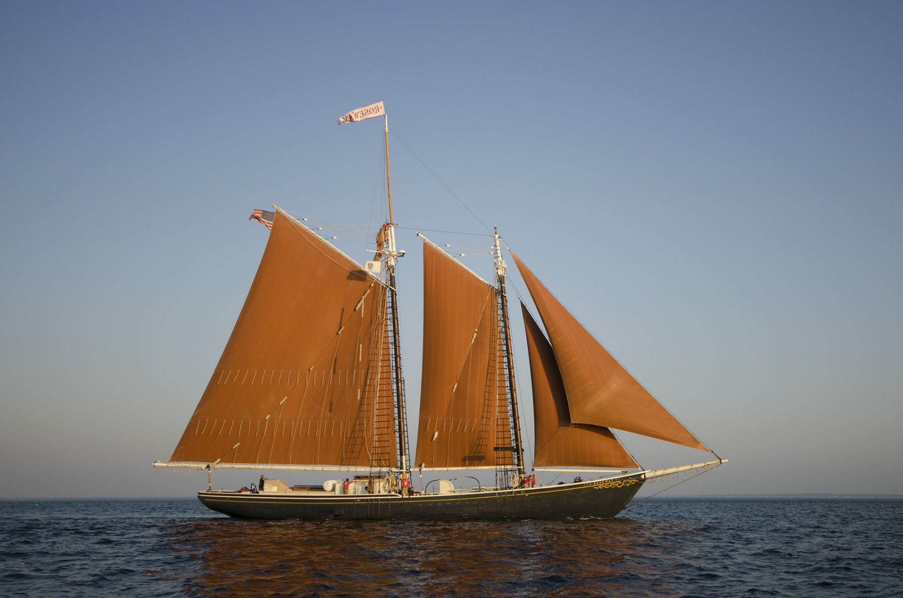 The schooner Roseway is a gaft rig with five sails