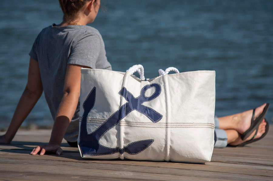 Sea Bags Navy Anchro tote with unique stitching