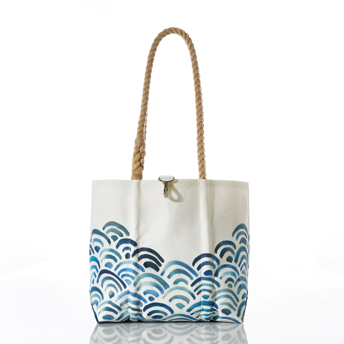 recycled sail cloth tote with waves