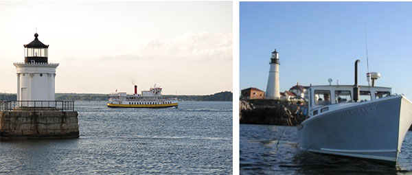 a short white lighthouse sits on its rocky base in the ocean while a white and yellow ferry boat chugs by behind it