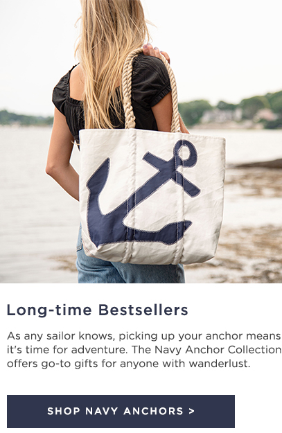 Woman holding a Medium Navy Anchor Tote made from recycled sails