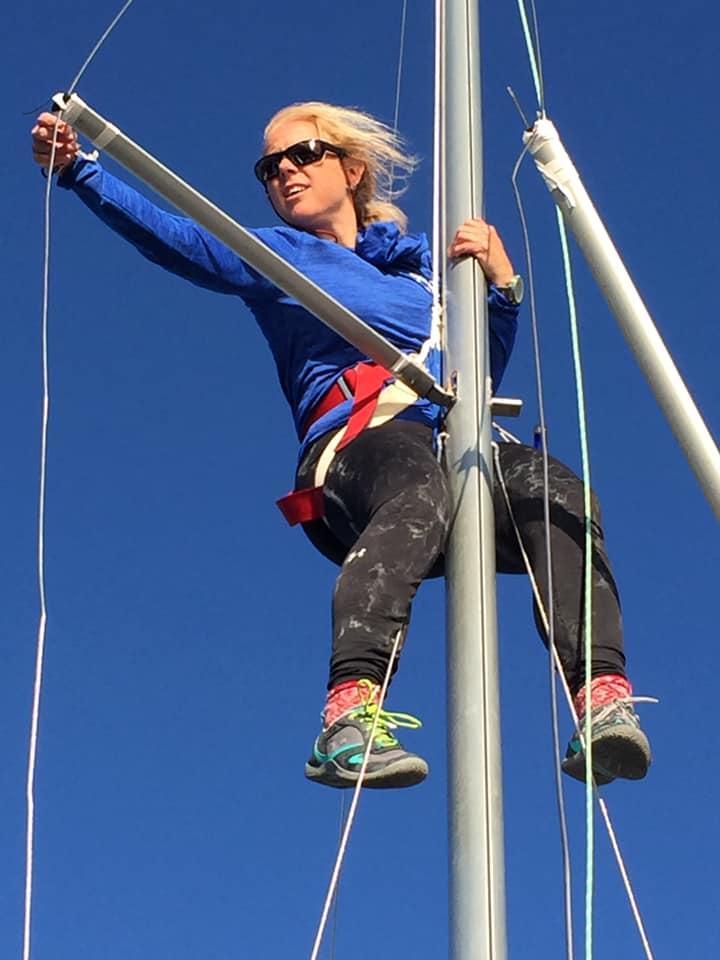 Erica Beck Spencer, named the Top Female Skipper in 2017, fixing the jib halyard