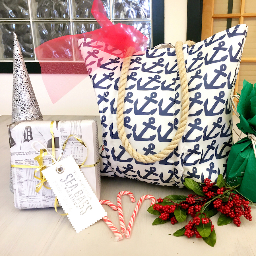 recycled sail cloth bag with sustainable gift wrap
