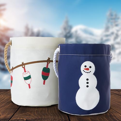 Recycled Sail Cloth Holiday Bucket Bag as Gift Baskets