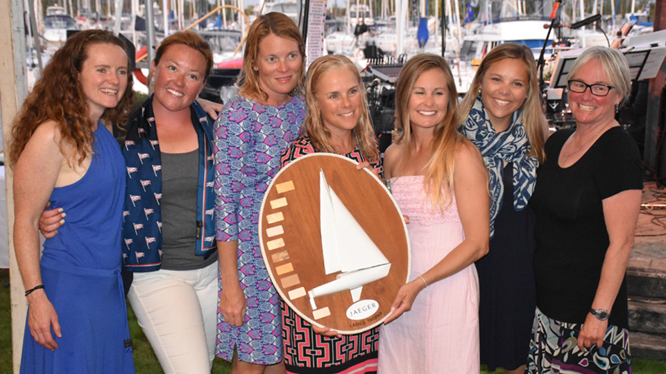 Sea Bags Women's Sailing Team with the Jaeger Trophy as the Top Female Team in 2017
