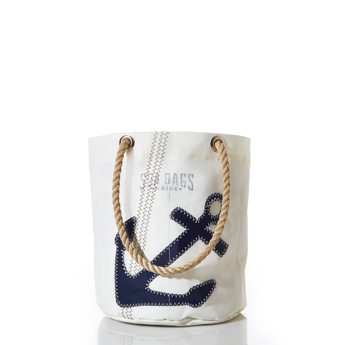 Recycled sail cloth beverage bucket with rope handle