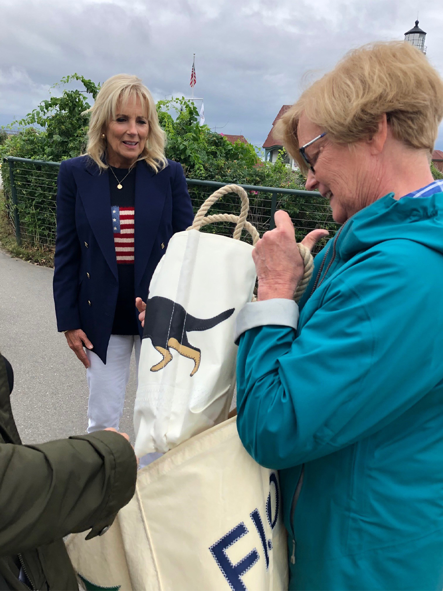 Jill Biden being presented with Sea Bags from Congresswoman Chellie Pingree