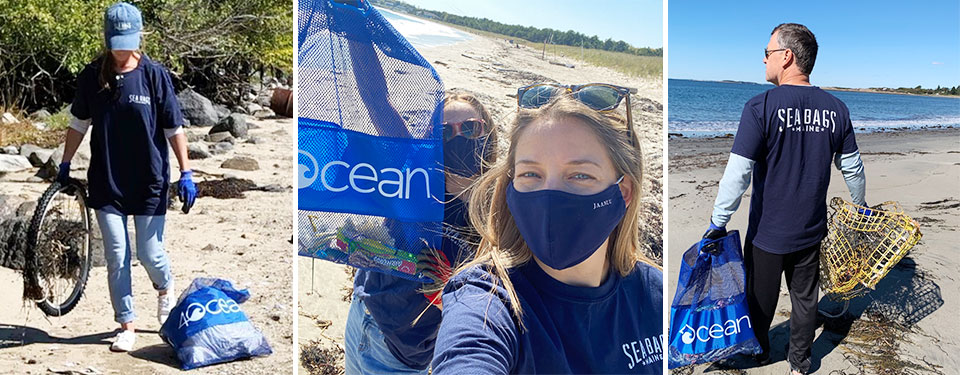 Sea Bags employees on beach cleanup day