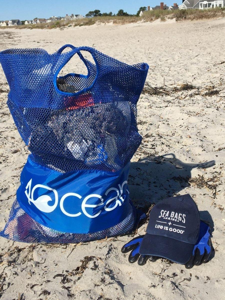 4ocean beach cleanup bag on beach in maine