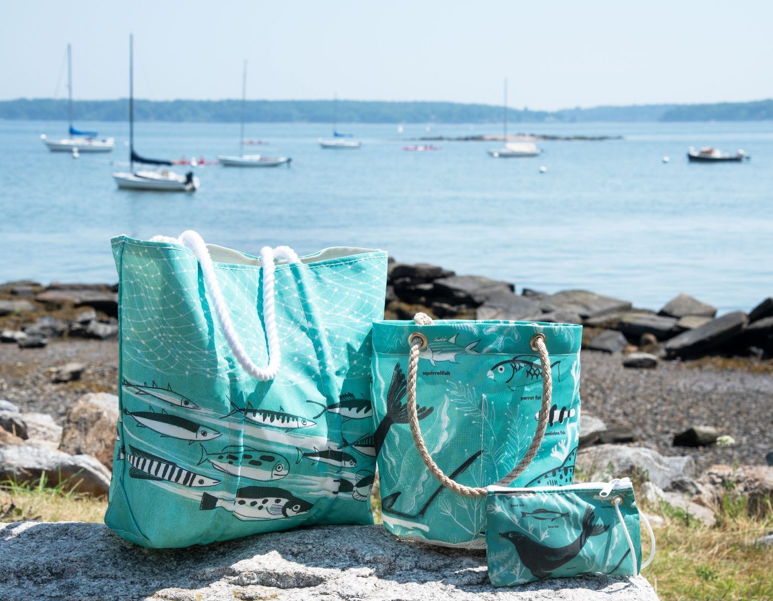 Sea Bags' recycled sail cloth totes and accessories featuring Dahlov Ipcar's illustrations