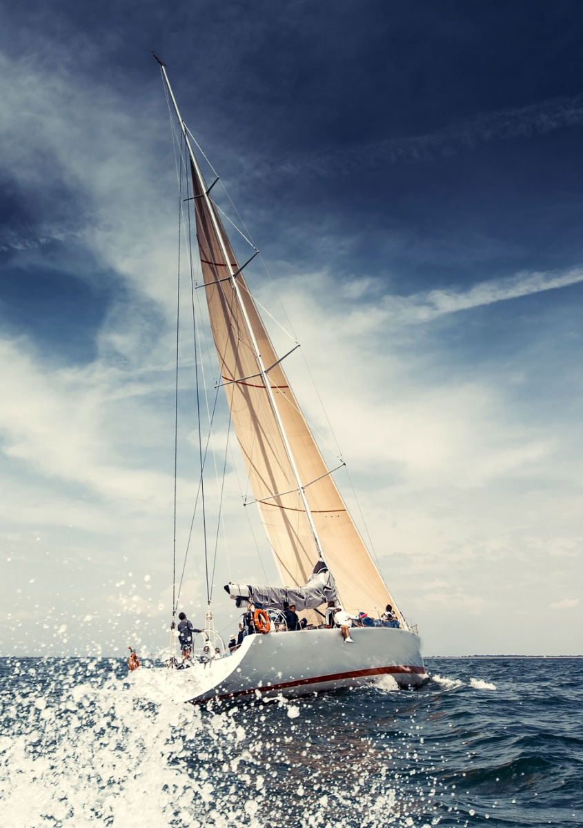 Telltales being used while sailing