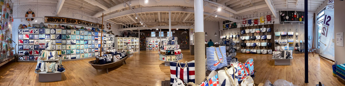 Panoramic photo of Sea Bags largest retail store in Portland, Maine