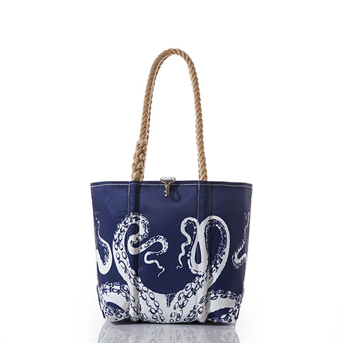 White on Navy Octopus Handbag