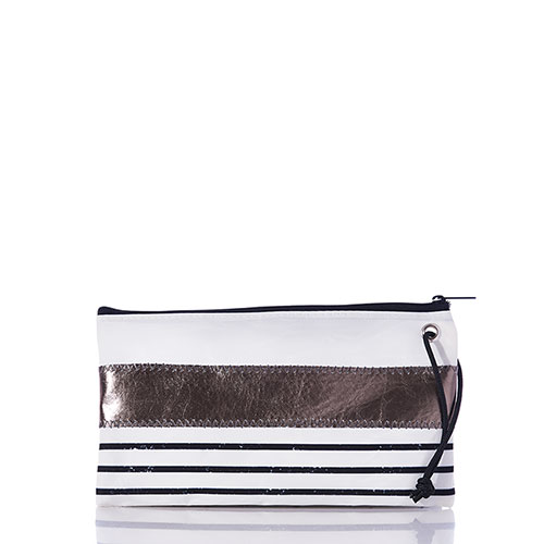 Pewter Mariner Stripe Large Wristlet