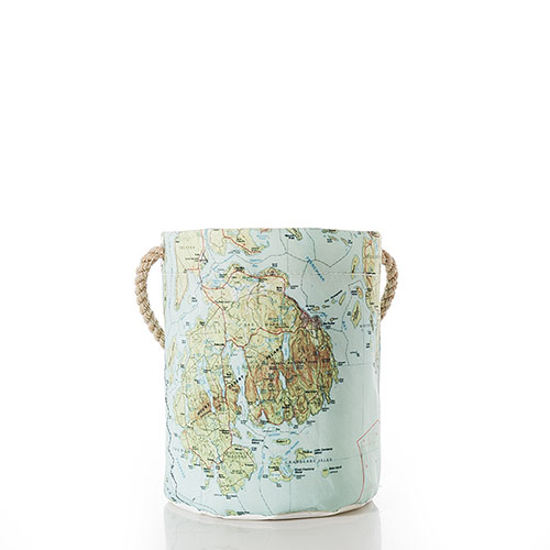 Antique Bar Harbor Map Bucket Bag