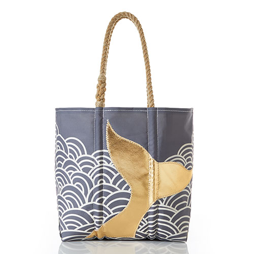 Gold Mermaid Tail and Waves Tote
