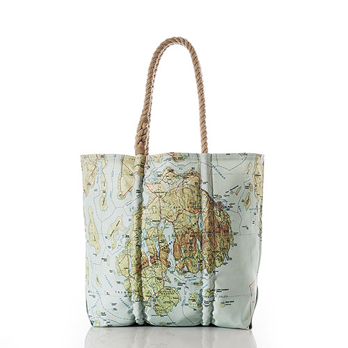 Antique Bar Harbor Map Tote