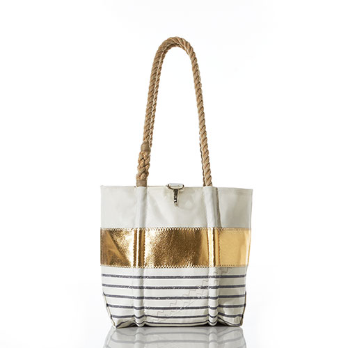 Grey Mariner Stripe Handbag