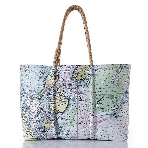 Casco Bay Nautical Chart Tote-Large