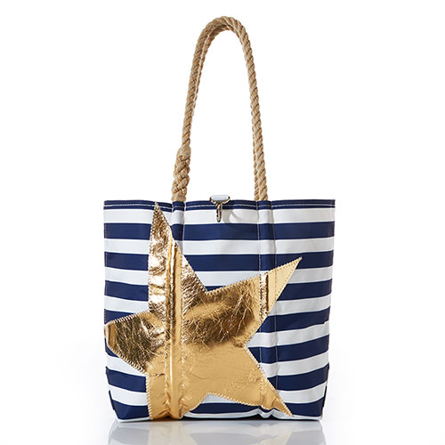 Gold Star On Navy Stripe Tote