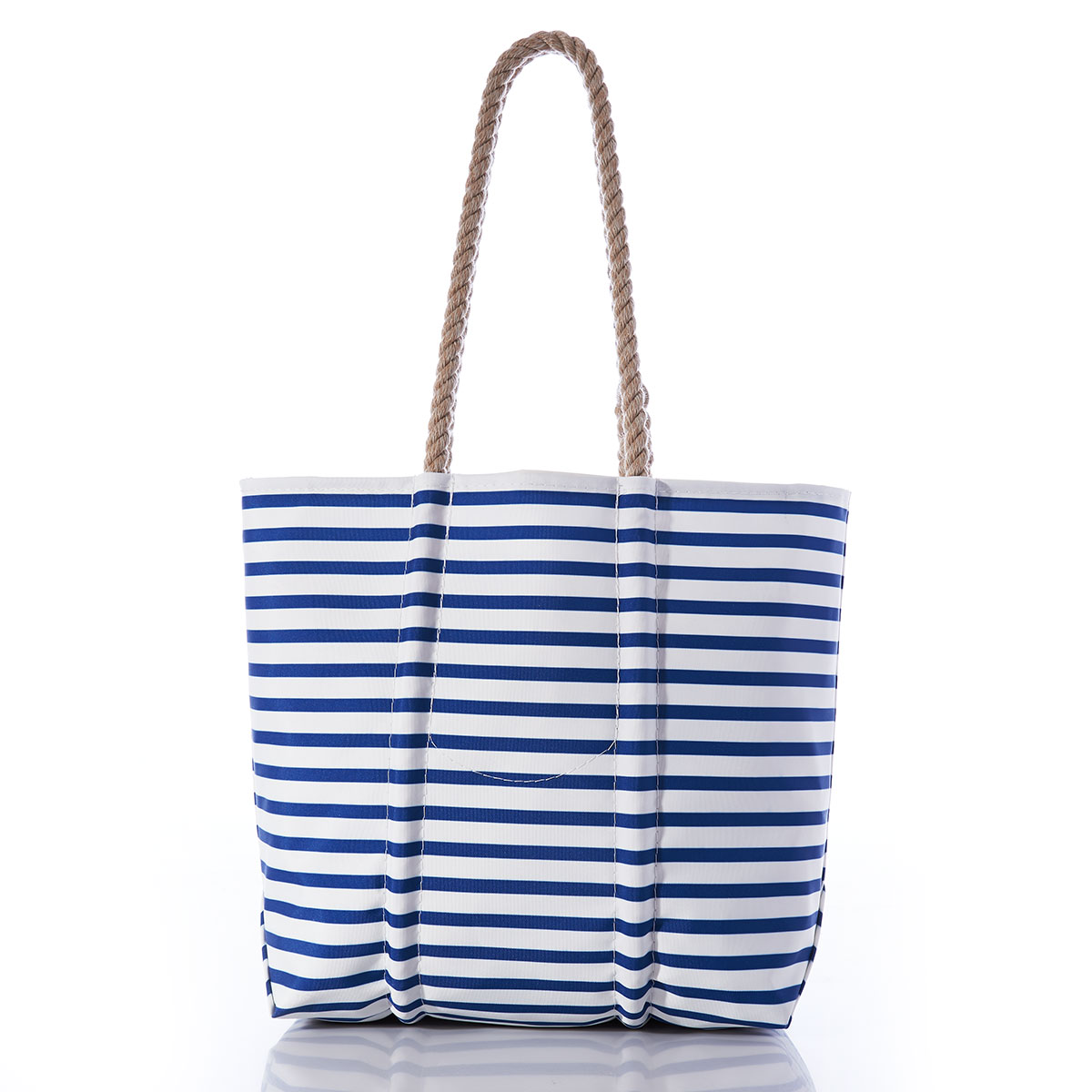 back of tote bag with stripes of royal blue and white, and a hemp rope handle