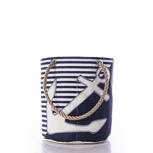 Breton Stripe White Anchor Beverage Bucket