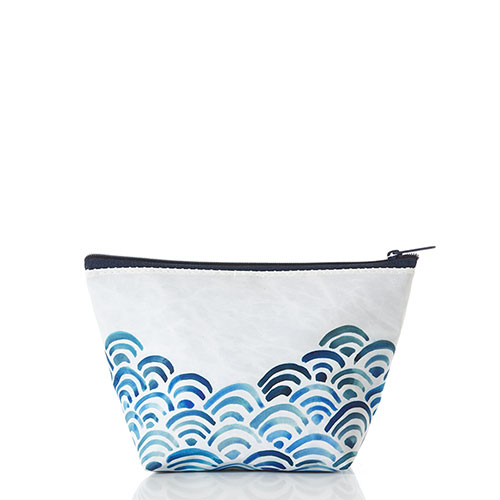 Watercolor Waves Large Cosmetic Bag
