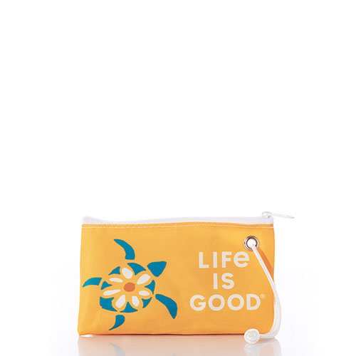 Sea Turtle Daisy Life is Good Wristlet