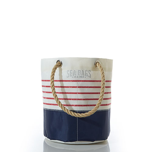 Red Mariner Stripe Beverage Bucket Bag