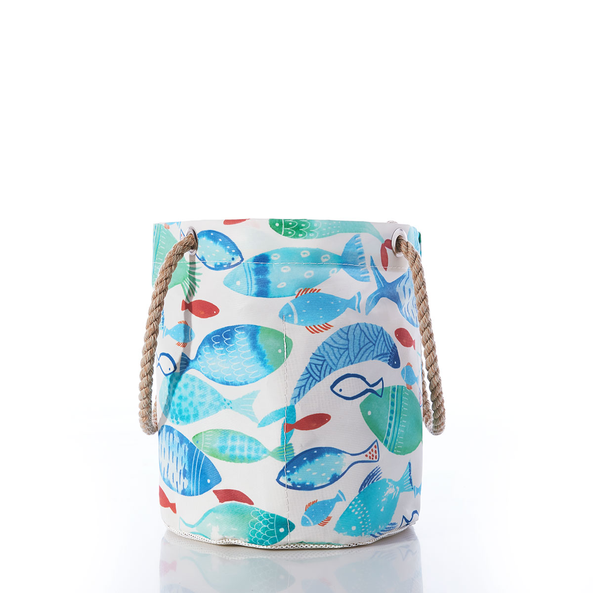 side of bucket bag, white sail cloth with blue teal and red fish print, hemp rope handle